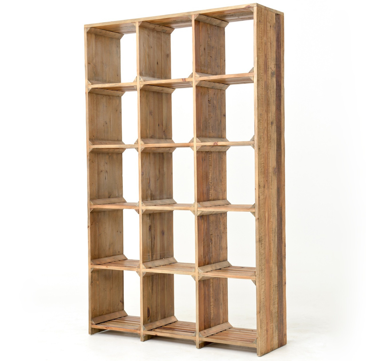 Timber Bookcase: Hughes Rustic Reclaimed Wood Open Bookcase