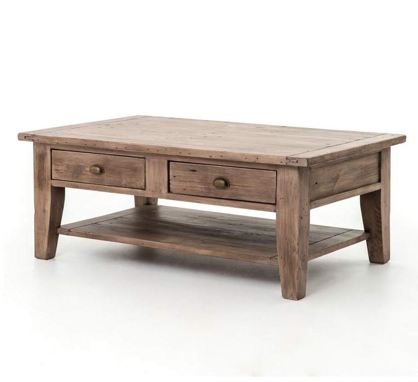 coastal solid wood rustic coffee table with drawers | zin home