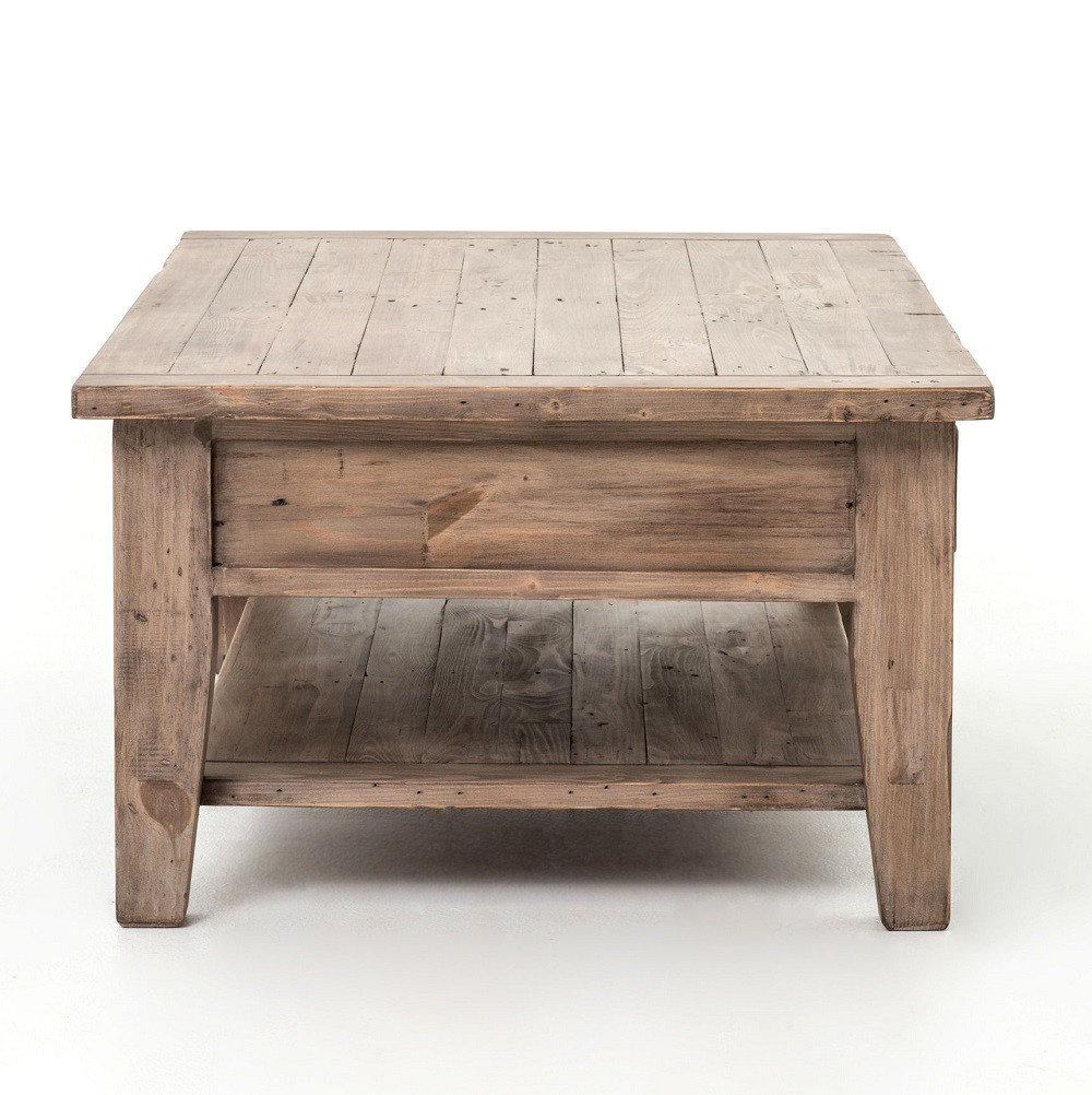 White Reclaimed Wood Coffee Table With Drawers: Coastal Solid Wood Rustic Coffee Table With Drawers