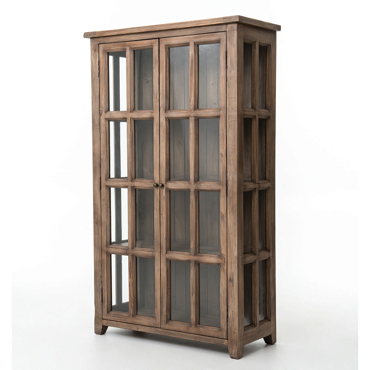 Coastal solid reclaimed wood display storage cabinet zin for Solid wood cabinets