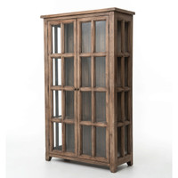 Coastal Solid Wood Display Storage Cabinet with Glass Doors