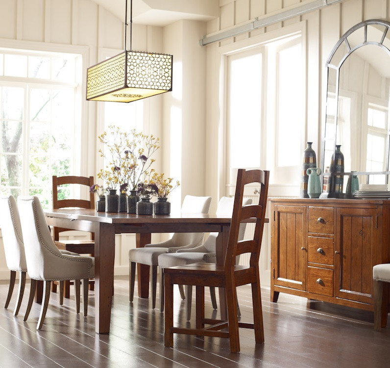 """Reclaimed Dining Room Table: Coastal Reclaimed Wood Extending Dining Table 96"""""""