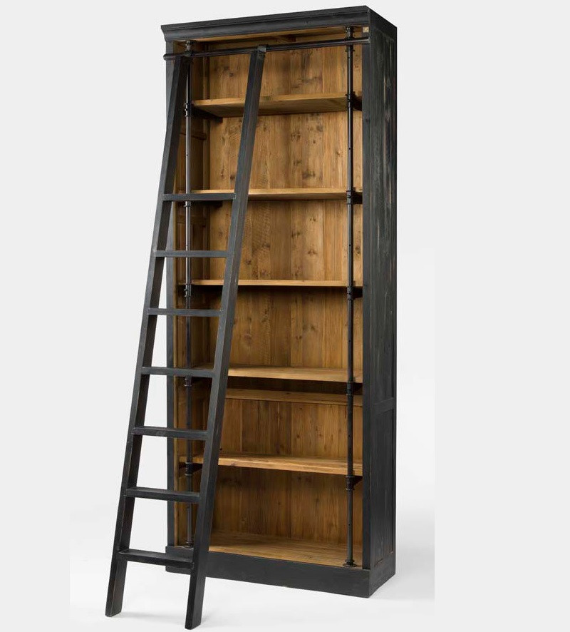 Wood Bookshelves For Sale: French Library Bookcase With Ladder In Matte Black