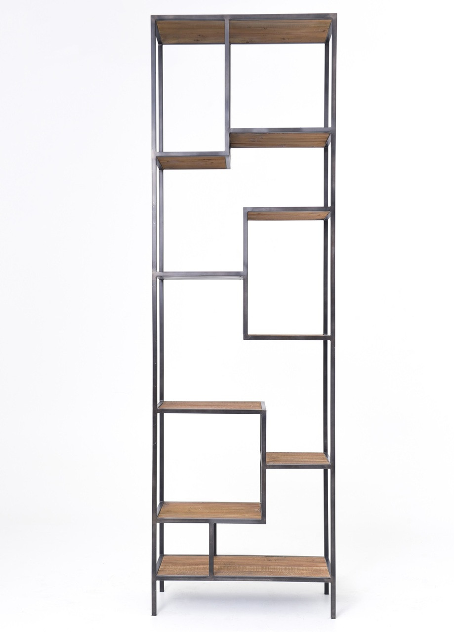 """Timber Bookcase: Geometric Reclaimed Pine Wood + Iron Bookcase 102"""""""