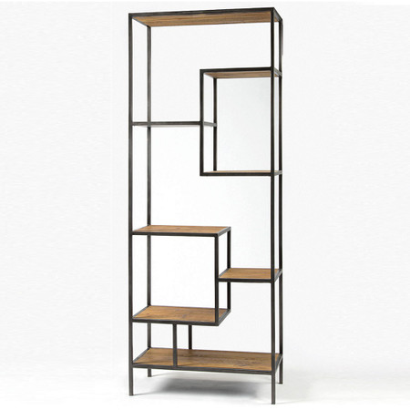 ... Bookcases & Shelving Geometric Reclaimed Wood and Iron Bookcase 84