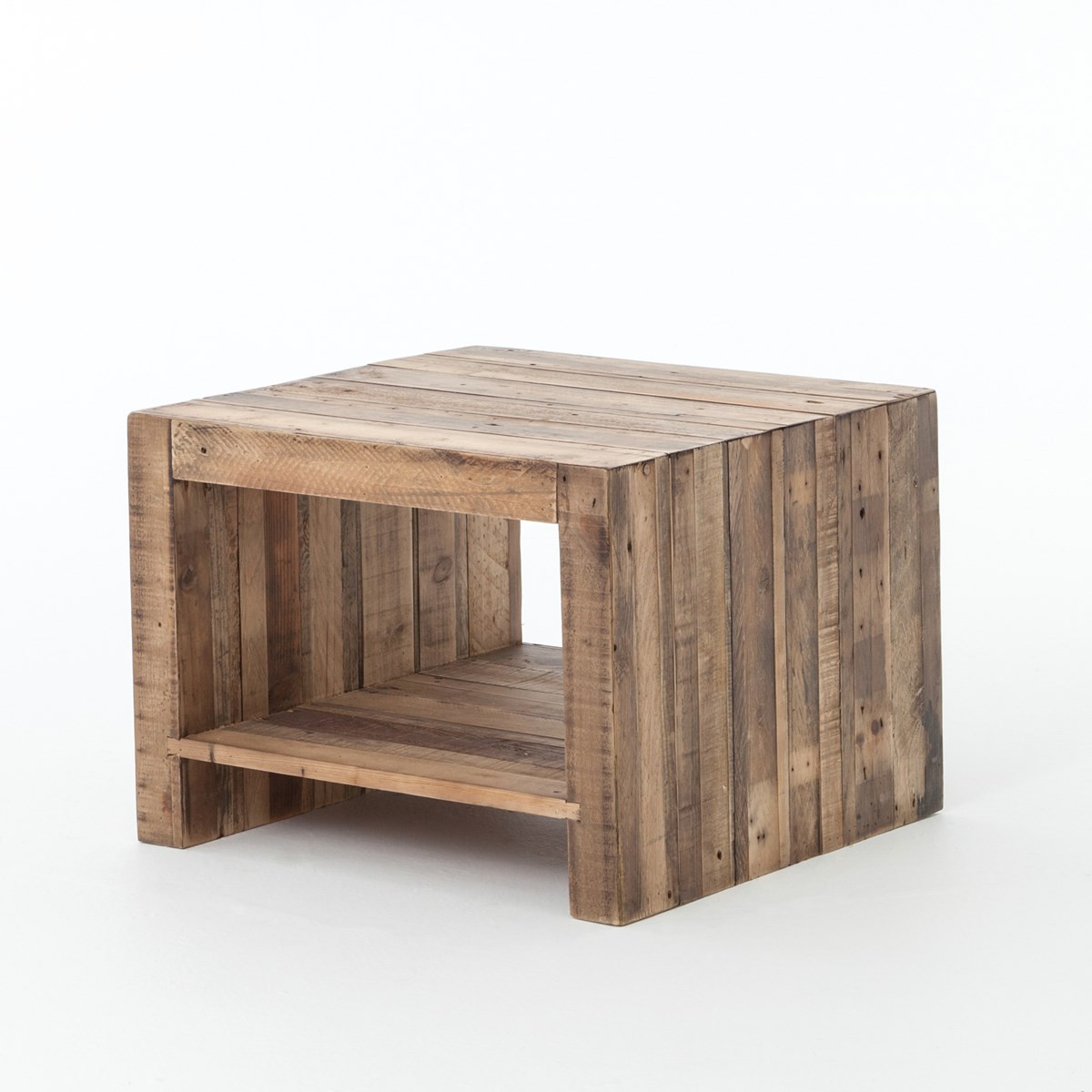 angora reclaimed wood square end table  zin home - angora reclaimed wood square end table
