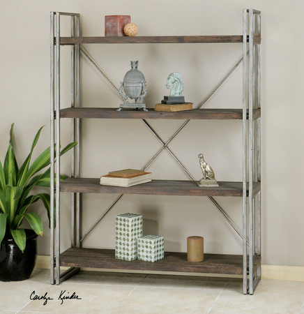 ... Room Bookcases & Shelving Greeley Industrial Metal and Wood Bookcase