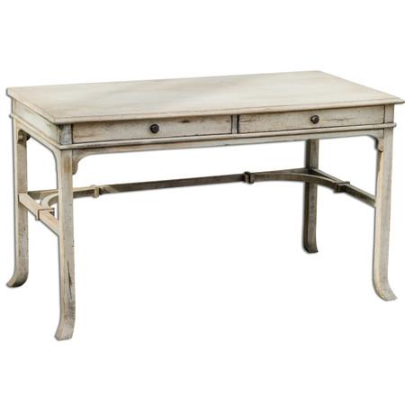 Antiqued White Bridgely Rustic Wood Vintage Writing Desk