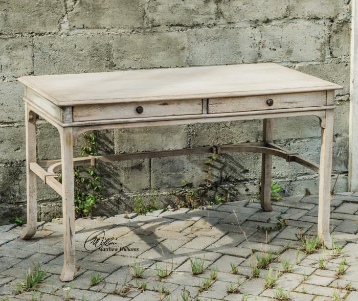 Rustic Americana Hardwood Executive Desk Home Office: Antiqued White Bridgely Rustic Wood Vintage Writing Desk