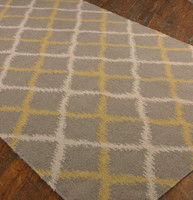 Ikat Gray Wool Area Rugs