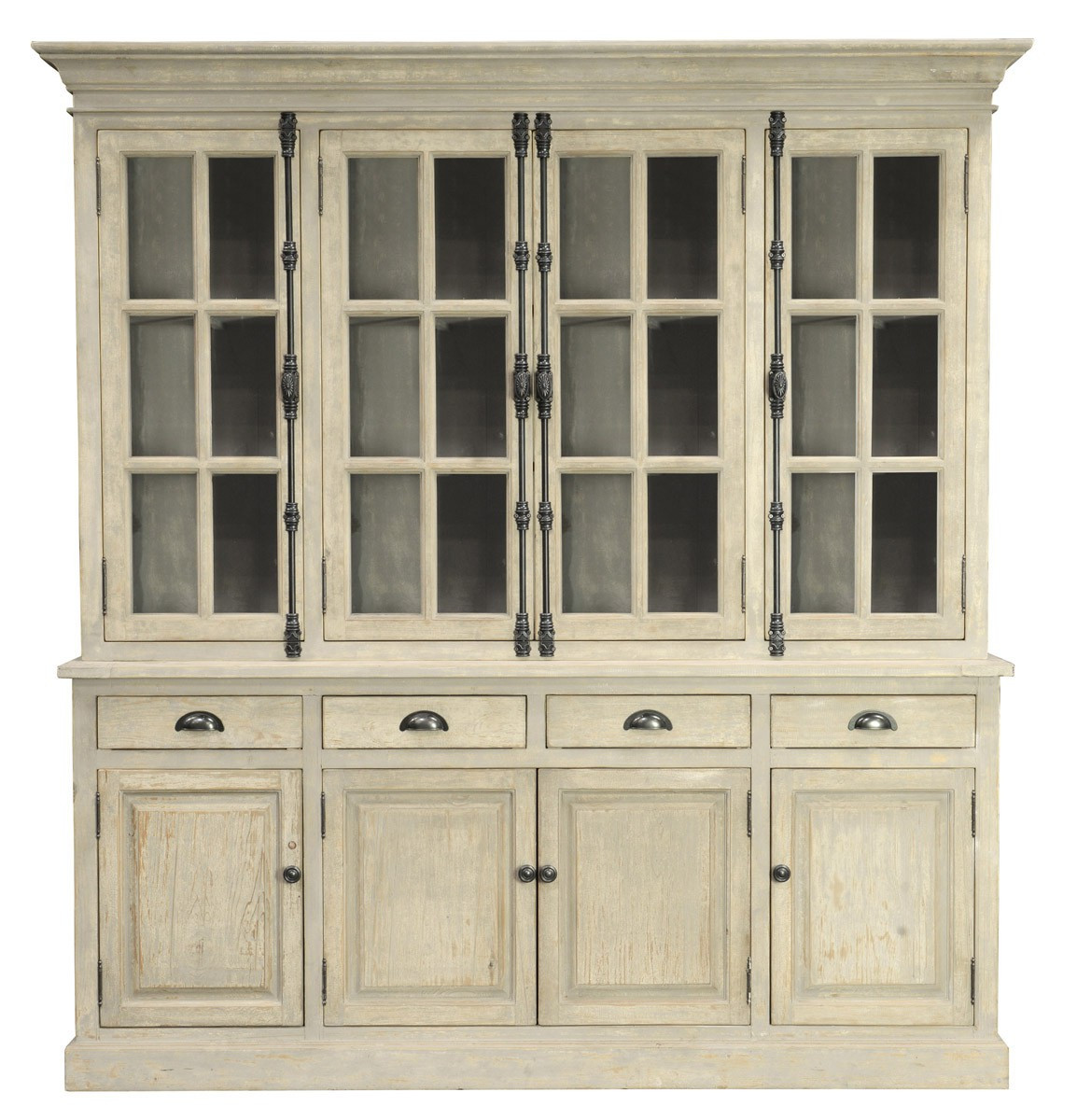 Chateau Reclaimed Wood Hutch Cabinet- Antique White