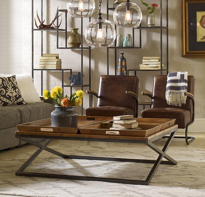 Suffolk Simplicity Reclaimed Wood Square Industrial Coffee: Rustica X-Base Square Coffee Table With Tray