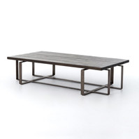 Brant Coffee Table With Wrought Iron Base