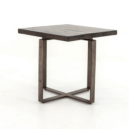 Brant square side table with wrought iron base zin home for Wrought iron side table base