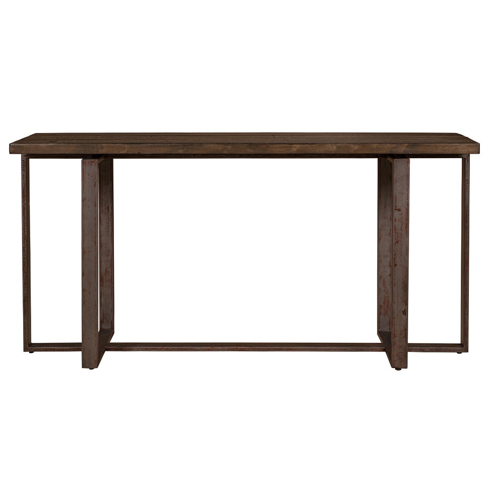 Brant console table with wrought iron base zin home for Wrought iron sofa table base