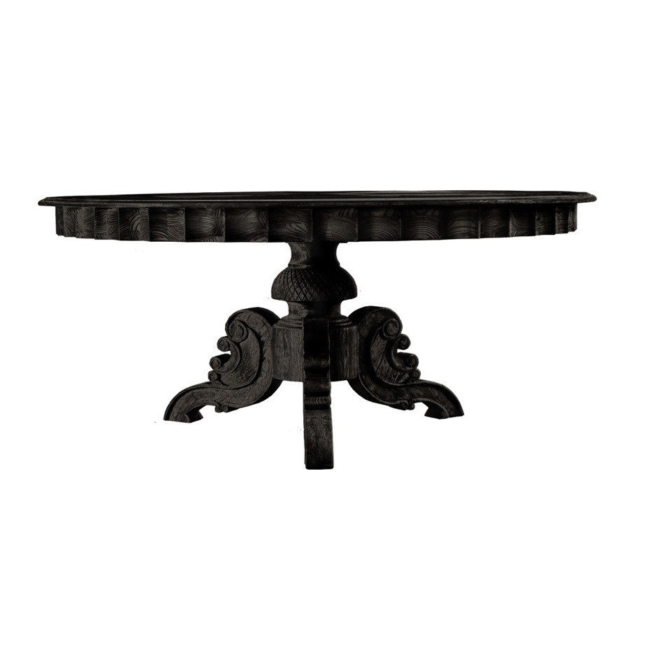 Parisian Antique Black Round Pedestal Dining Table 63