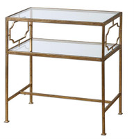 Genell Gold Leaf Accented Glass Top End Table