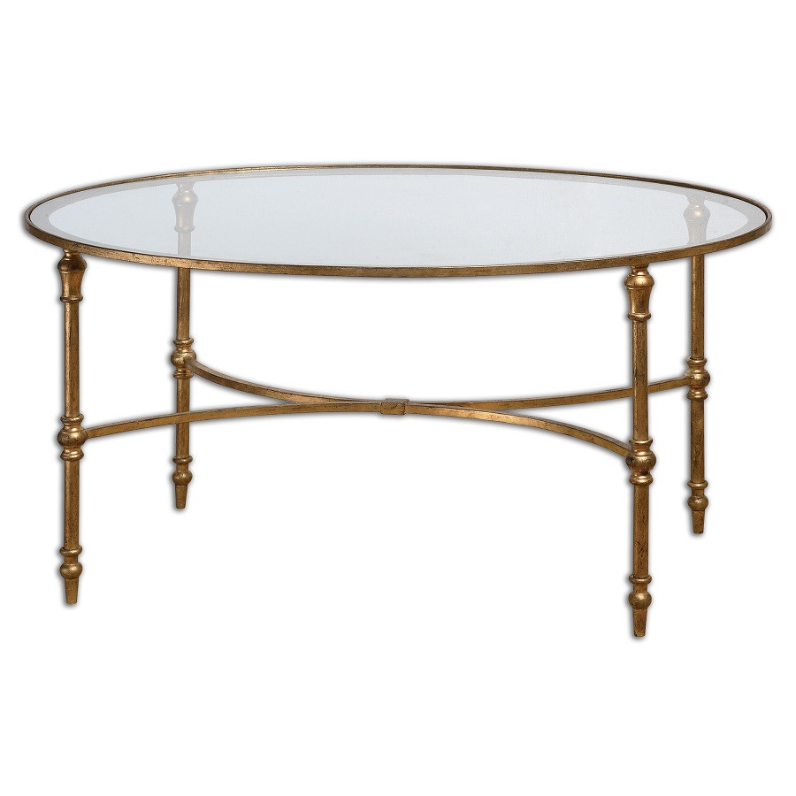 Madox Modern Classic Antique Gold Leaf Glass Coffee Table: Vitya Gold Leaf Oval Glass Coffee Table