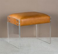 Aiden Tan Leather Ottoman with Acrylic Legs