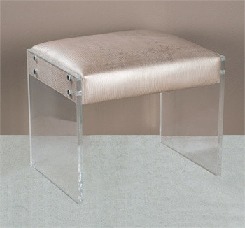 Nori Champagne Leather Vanity Stool Ottoman With Acrylic