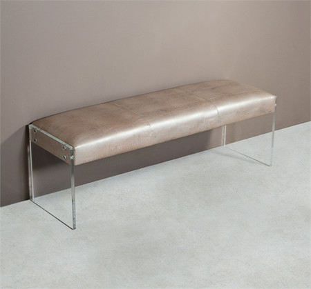 Nori Champagne Lizard Leather Bench With Acrylic Legs
