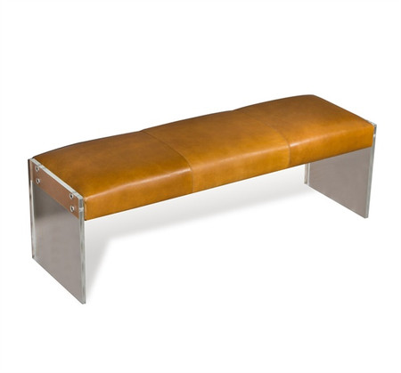 Aiden Tan Leather Lucite Bench With Acrylic Legs Zin Home