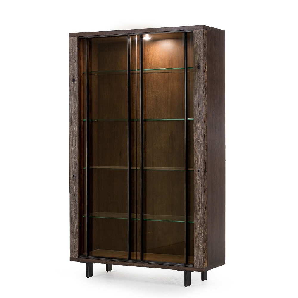 Geoff Reclaimed Wood Bookcase Cabinet With Glass Doors