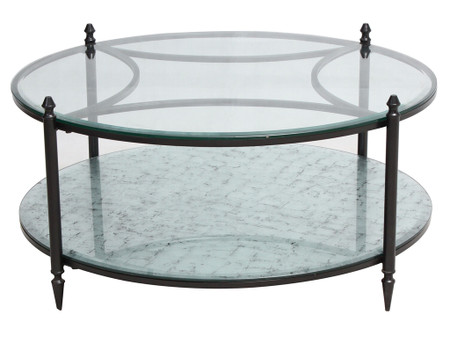 Shadow Box Round Mirrored Coffee Table Zin Home