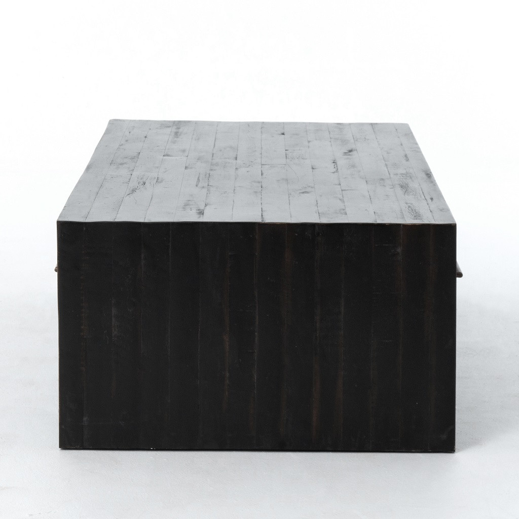Beautiful New York Loft Reclaimed Wood Coffee Tables: Burnished Black Reclaimed Pine Wood Coffee Table With