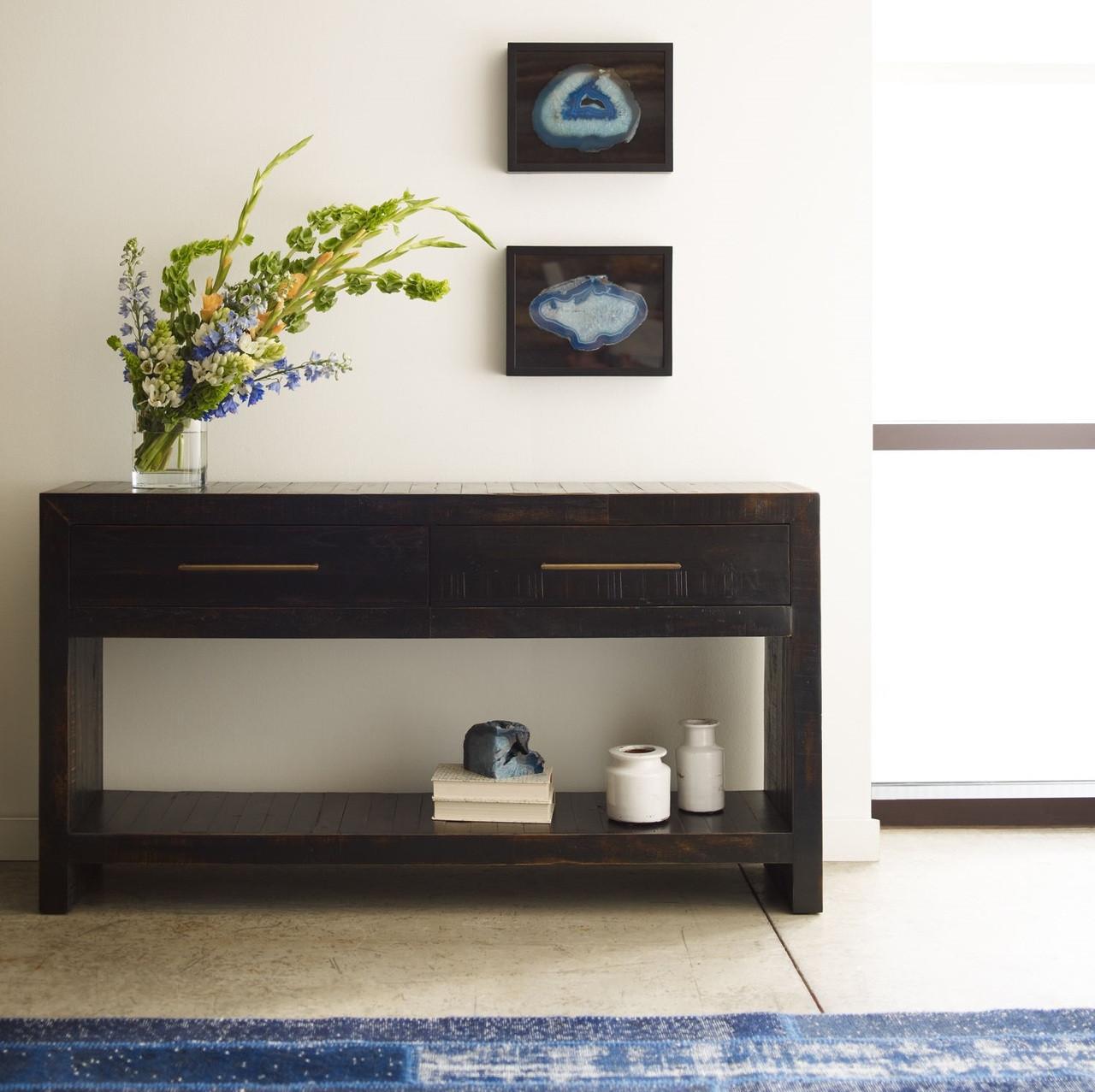 Modern Foyer Names : Suki burnished black reclaimed pine wood console table