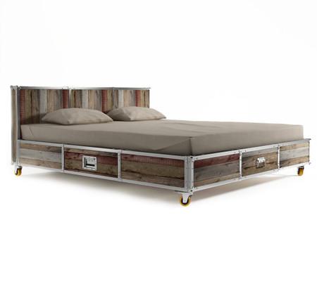 industrial loft reclaimed teak queen size platform storage bed