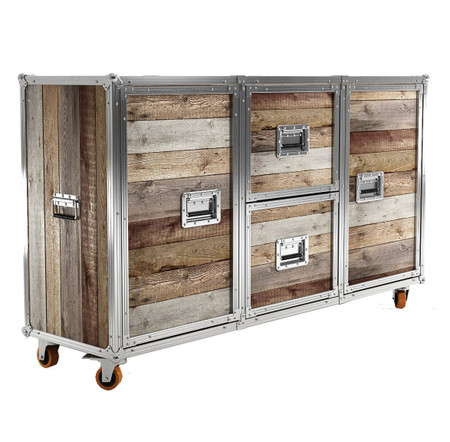 industrial loft reclaimed teak wood buffet sideboard zin. Black Bedroom Furniture Sets. Home Design Ideas