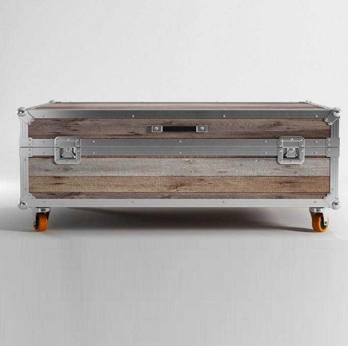 ... Industrial Reclaimed Teak Wooden Large Trunk Coffee Table