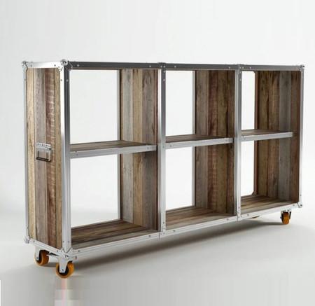 Industrial Loft Reclaimed Teak Low Bookcase Zin Home