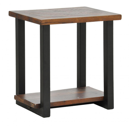 Loft Geometric Metal Base Wooden Side End Table Zin Home