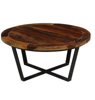 Loft Geometric Metal Base Round Wooden Coffee Table