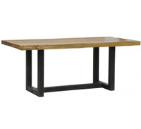 "Restoration Metal + Wood 76"" Dining Table"