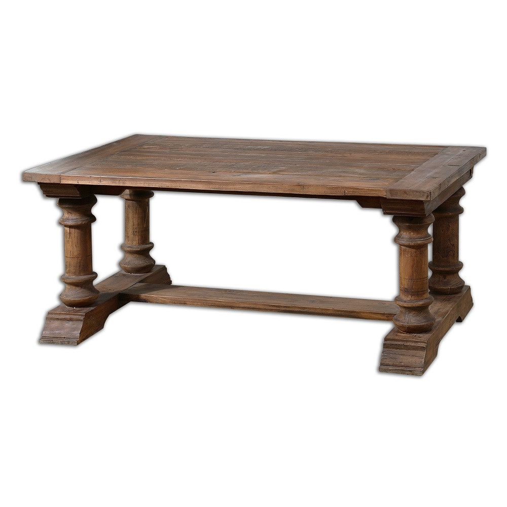 Saturia balustrade reclaimed wood coffee table zin home for Reclaimed coffee table