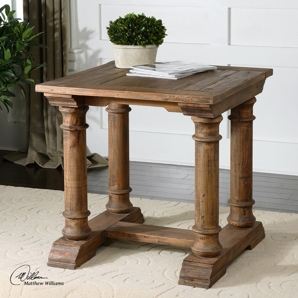 Reclaimed Wood End Tables ~ Saturia balustrade reclaimed wood square side table zin home