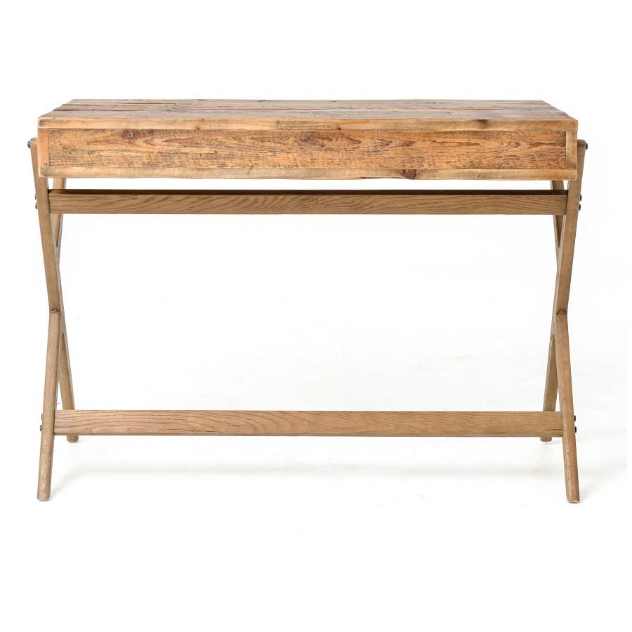 Mid century reclaimed pine home office desk zin home - Pine office desk ...