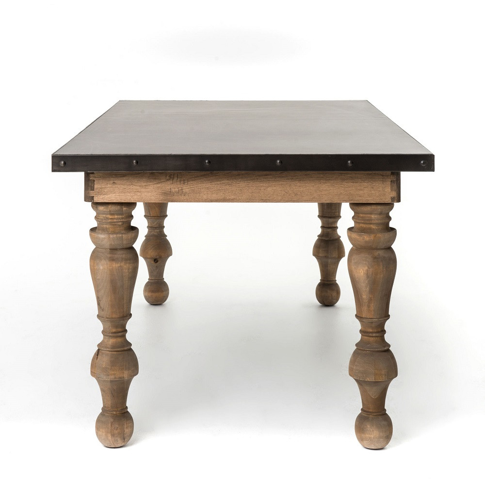 Daphne Solid Wood  Zinc Top Dining Room Table  Zin Home - Zinc top dining table