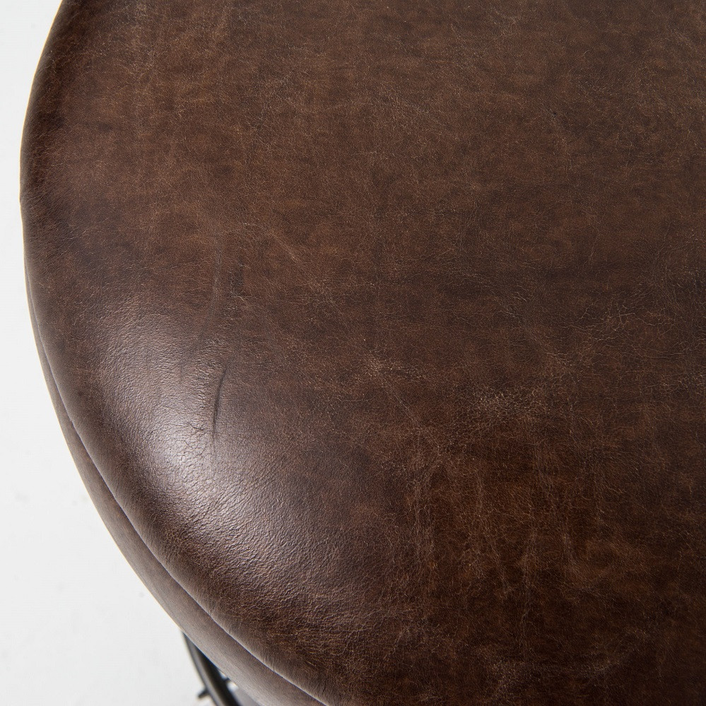Baron Footrest Vintage Leather Barstool Zin Home