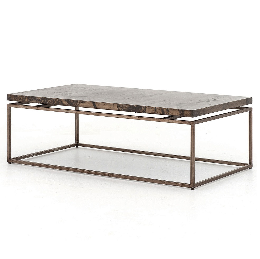 Iron Coffee Tables Roman Box Frame Industrial Iron Coffee Table Zin Home