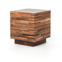 Landon Mixed Re-Cycled Wood Square Side Table