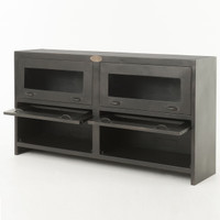 Shadow Box Antiqued Iron Media Cabinet with doors