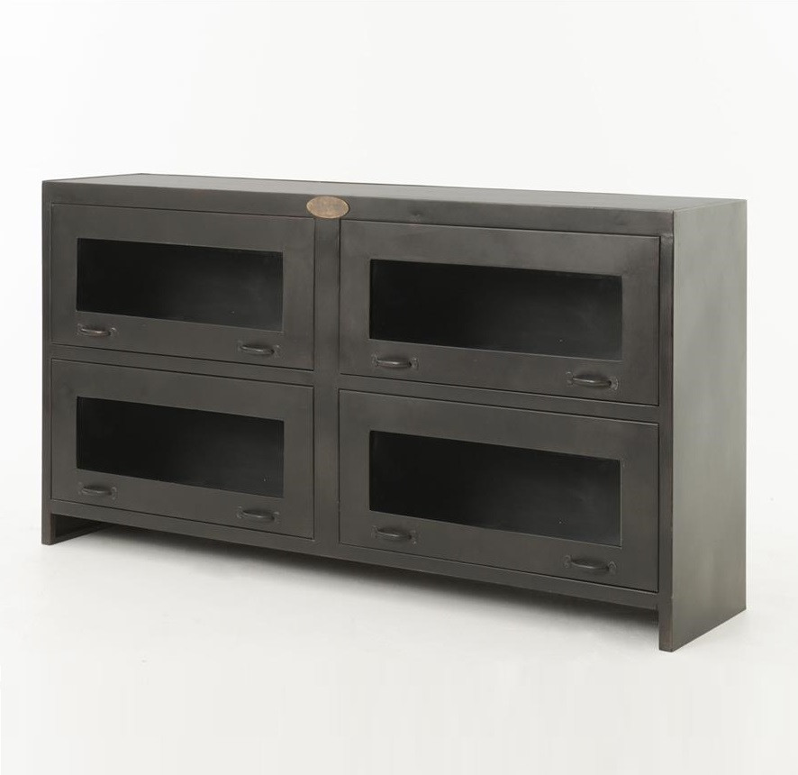 Shadow Box Antiqued Iron Media Cabinet Zin Home