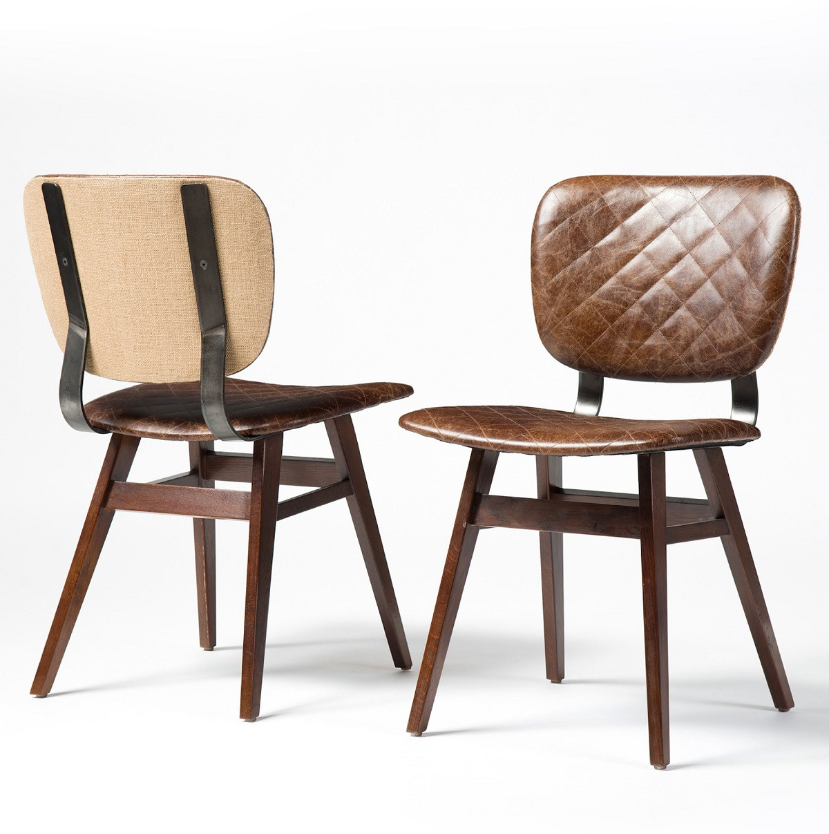 Sloan Quilted Havana Leather Dining Side Chair Zin Home