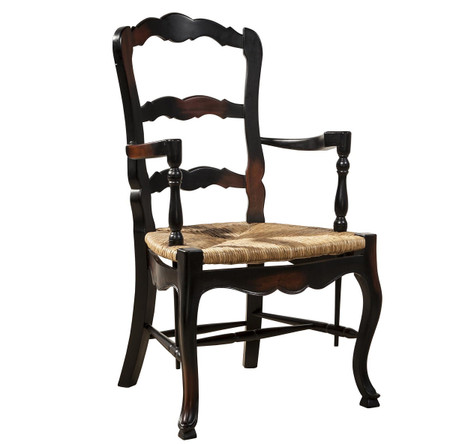 French Country Mahogany Ladderback Black Arm Chair