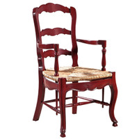 French Country Mahogany Ladderback Crimson Arm Chair