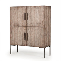 Bina Shelly Driftwood 4 Door Armoire Cabinet